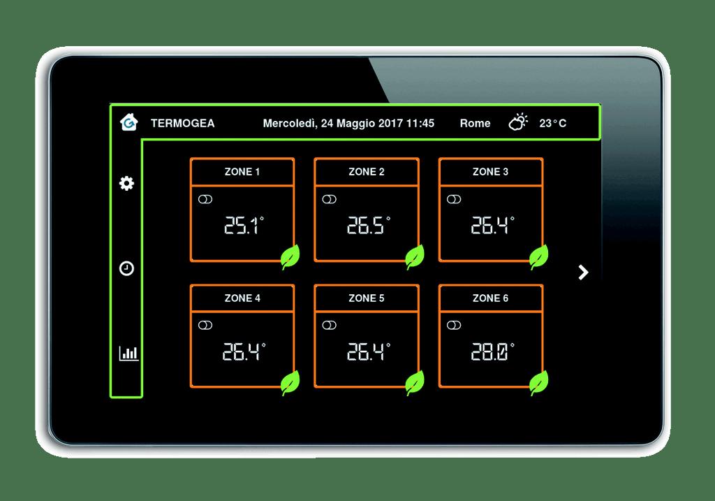 Pannello Touch Screen per il controllo impianto termico a pompa di calore